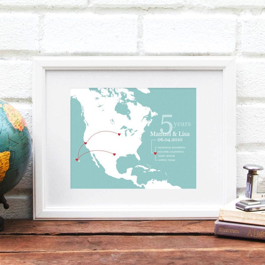 Personalized Travel History Map Anniversary Art Print Gift for