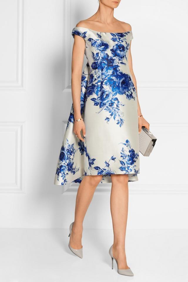 7bb4f9a81dc3 Lela Rose Off-The-Shoulder Floral-Print Watteau Dress
