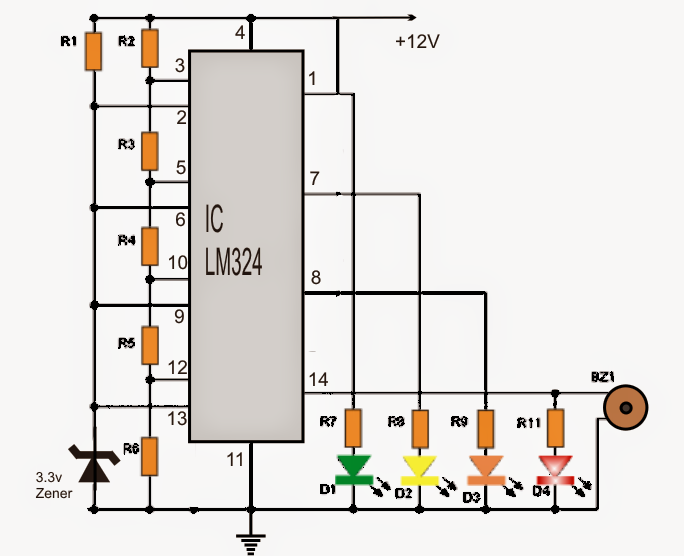 This Simple 4 Led Car Voltmeter Is Designed To Allow Us To Monitor The Voltage Level Of The Battery Of Our Circuit Projects Electronics Circuit Circuit Diagram