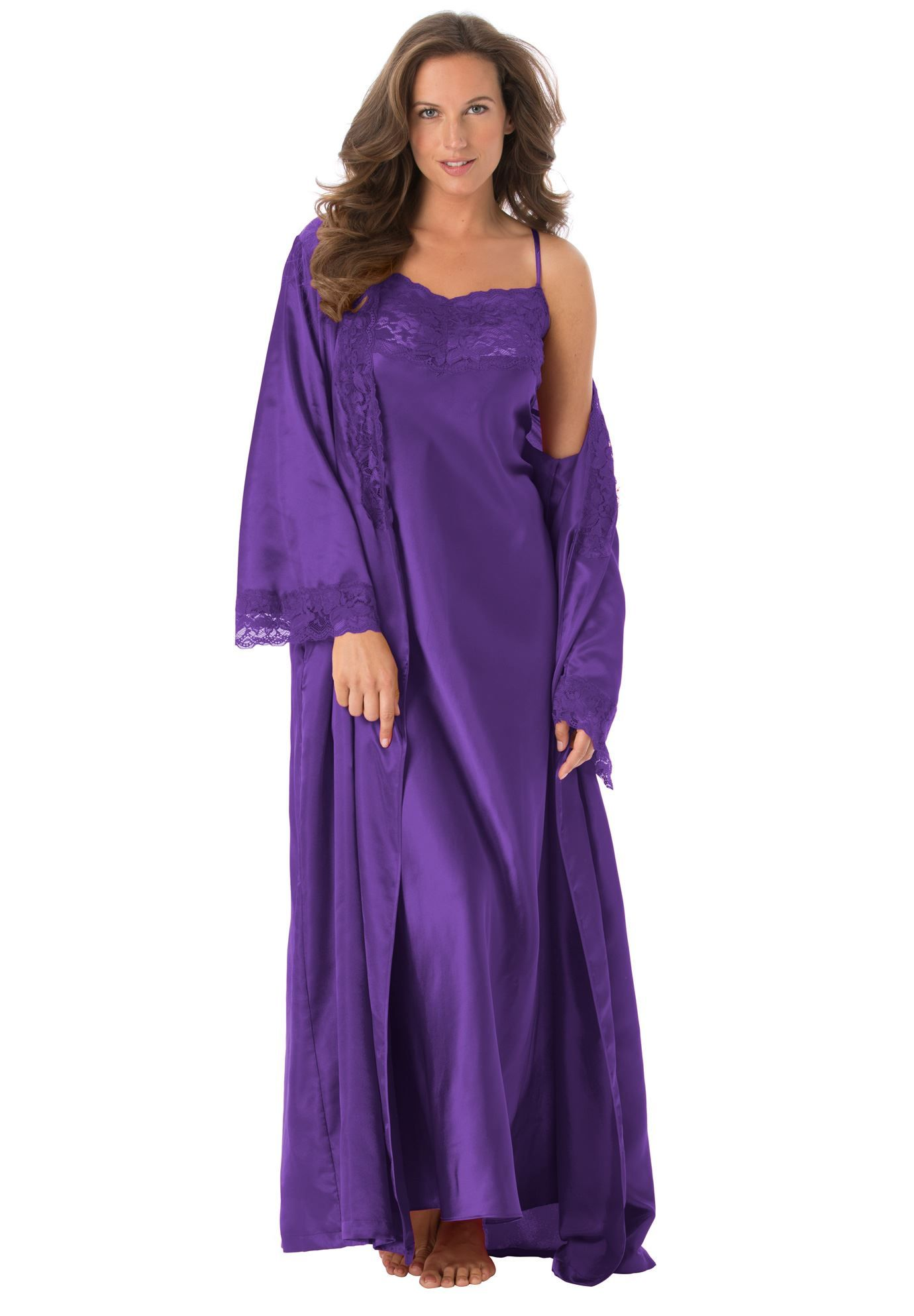 Long Satin Peignoir Set By Amoureuse Plus Size Nighties Woman Within Night Gown Peignoir Sets Plus Size Sleepwear