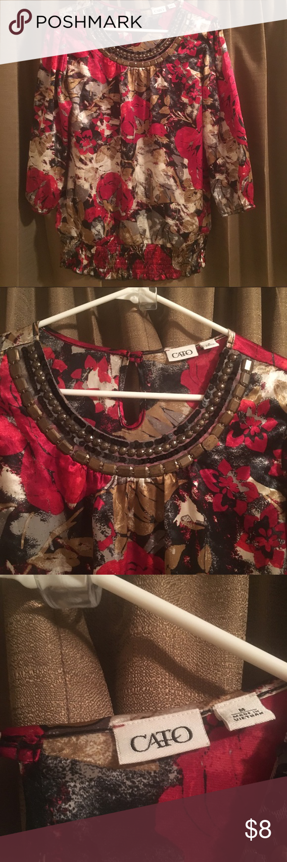 floral you gorgeous top a beautiful red and gold silky