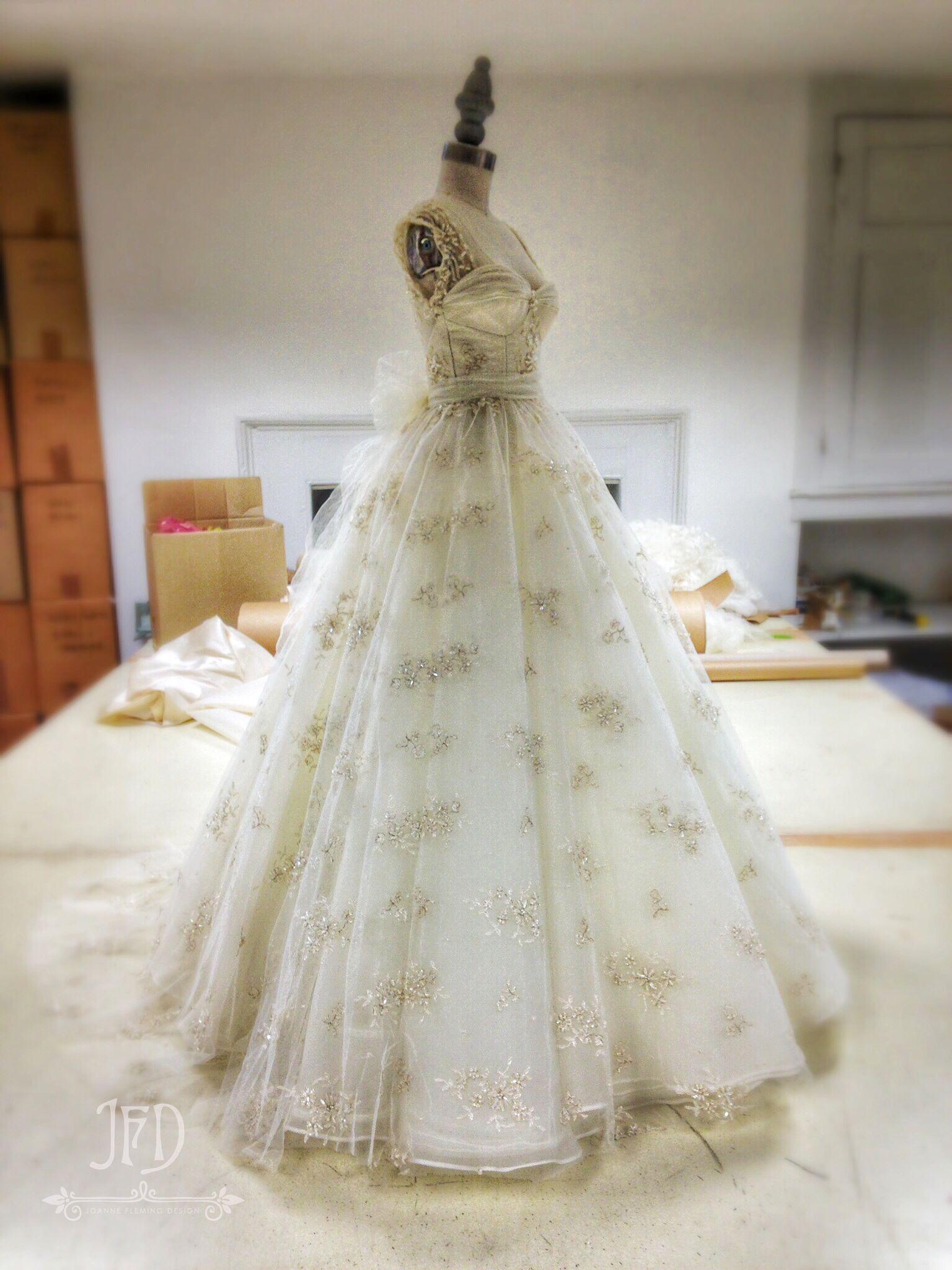 Vintage inspired lace wedding dresses  Joanne Fleming Design beaded lace wedding dress  Margueriteus