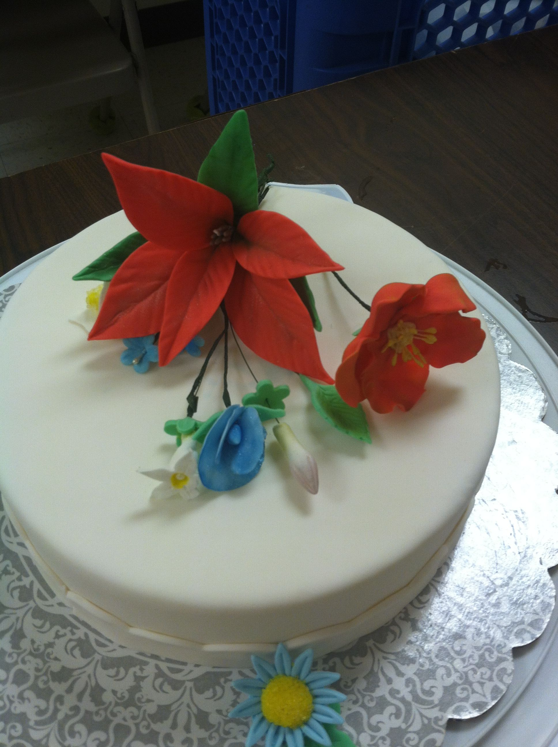 Class 4 advanced sugar flowers on my students cake