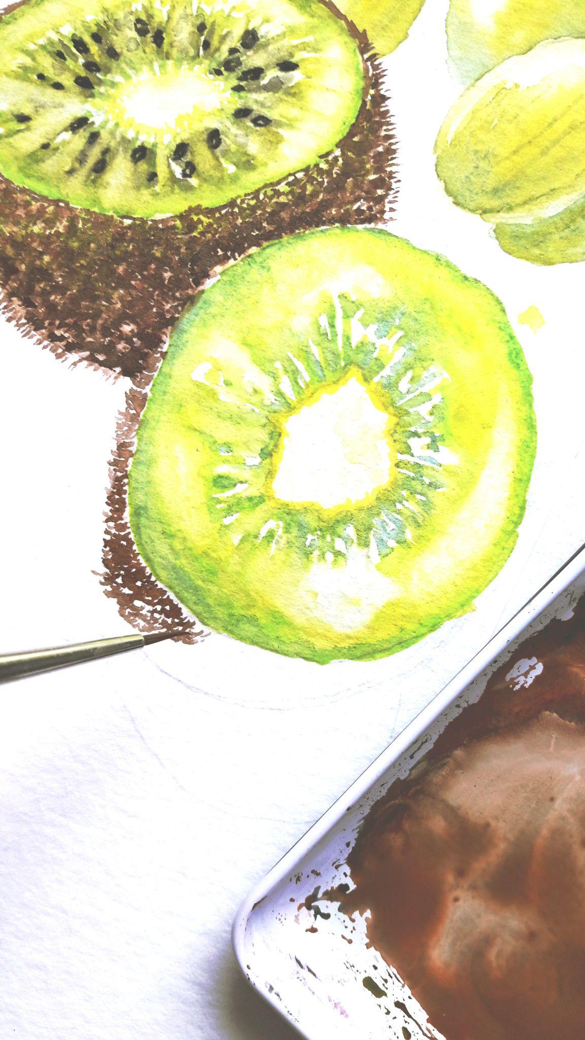 Diy Aquarell Kiwi Malen Ganz Einfach Aquarell Kiwi Und
