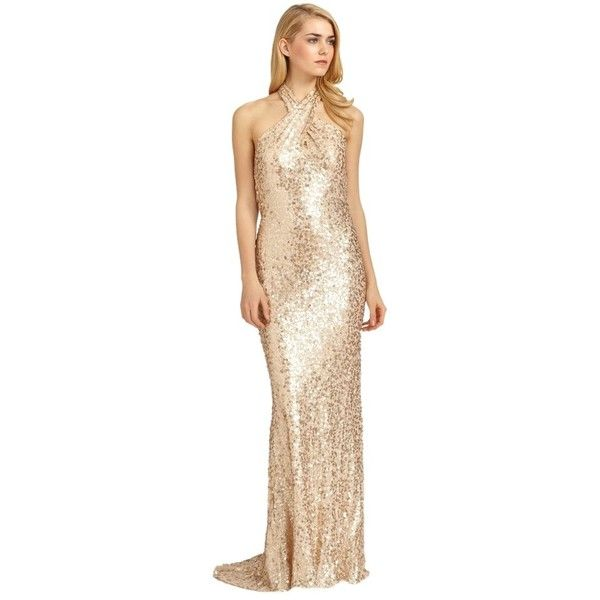 Pre-owned Badgley Mischka Gold Silk Sequin Crossover Halter Gown ...
