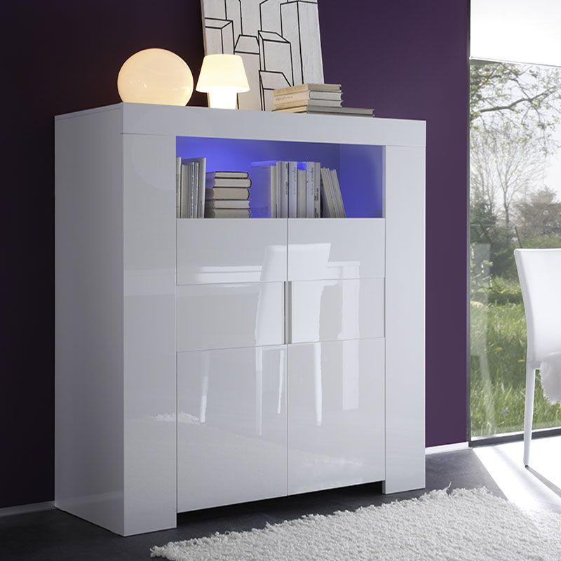 Buffet haut blanc laqué design LIVING | Buffet haut moderne ...