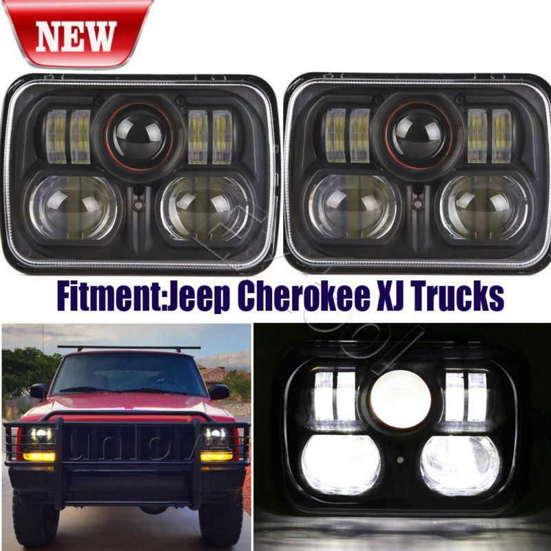 New Black 5 X 7 Led Headlight Replacement For Jeep Cherokee Xj