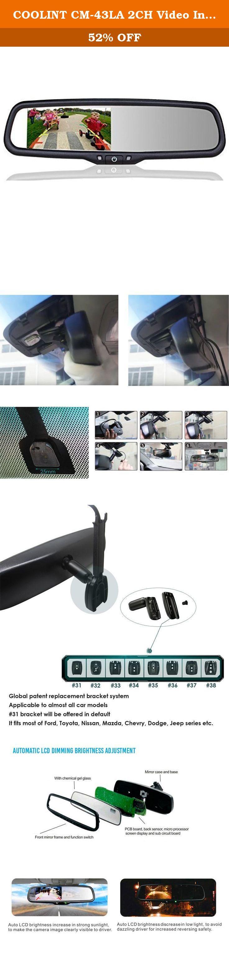 Coolint Cm 43la 2ch Video Input 4 3 Auto Adjust Brightness Lcd Rear View Mirror Monitor For Toyota Nissan Mazda Ford L Car Bluetooth Rear Mirror Backup Camera
