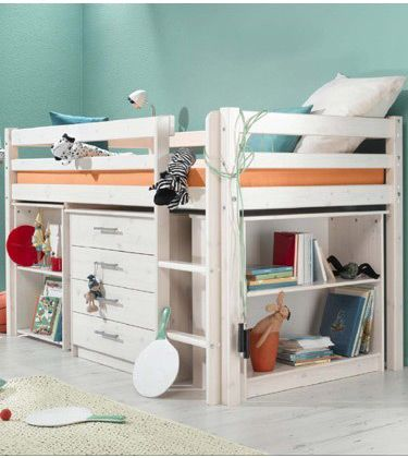 Kids White Cabin Bed with Desk & Drawers | Box room beds