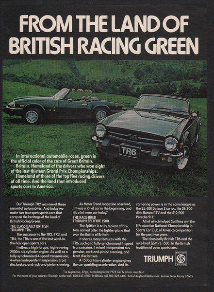 VINTAGE ADVERTISEMENT 1979 TRIUMPH SPITFIRE Convertible Sports Car Race Car