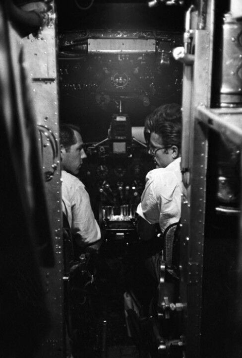 James Dean in the cockpit of an aeroplane