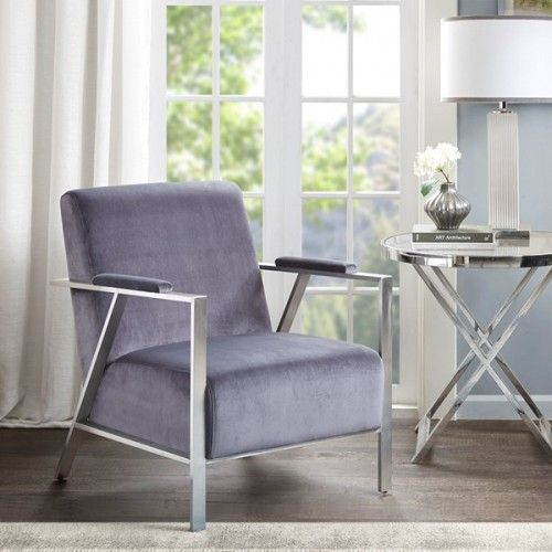 Retro Grey Velvet Chrome Accent Chair With Images Accent