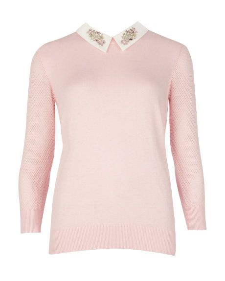 66398e0fa3c00 House of Fraser. Embellished collar sweater - Pale Pink