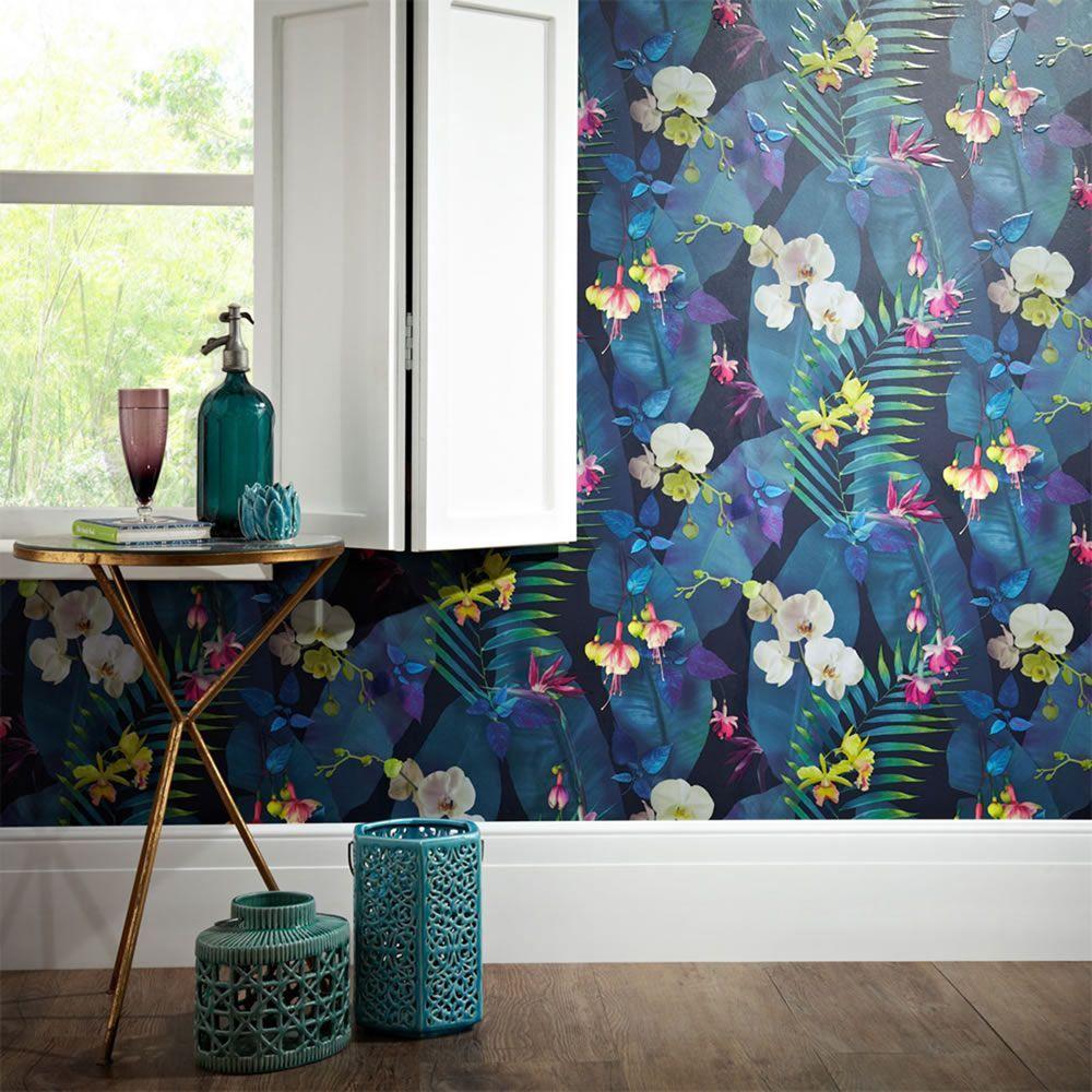 Tropics Pindorama Floral Wallpaper Navy Arthouse 690101 Room