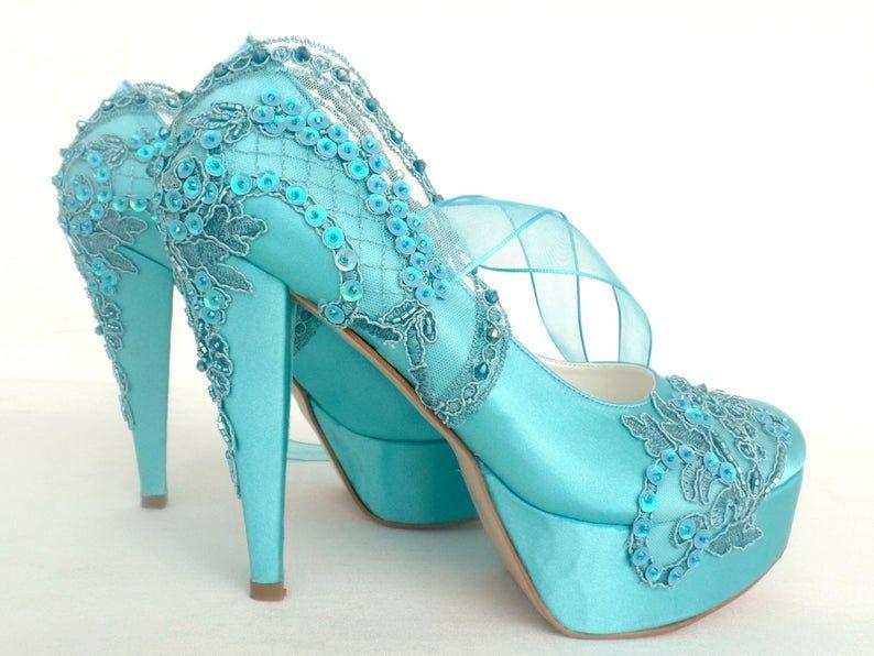 Embellished Lace Wedding Shoes Teal Satin Embroidered Bridal Etsy In 2020 Wedding Shoes Lace Wedding Shoes Embellished Wedding Shoes