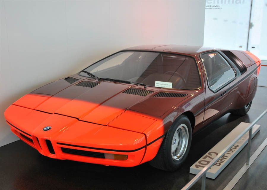 A 1972 BMW Turbo sports car displayed at the BMW Museum in Munich ...