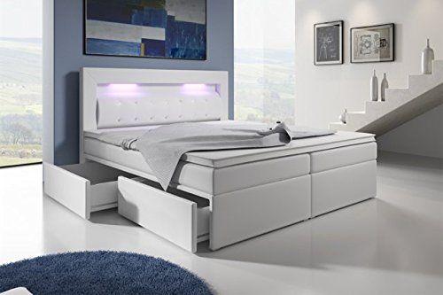 Boxspringbett weiß mit bettkasten  Boxspringbett mit Bettkasten 160x200 Weiß LED Kopflicht Glasstein ...