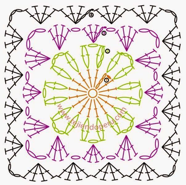 crochelinhasagulhas: Quadradinhos em crochê   Crochet   Pinterest ...