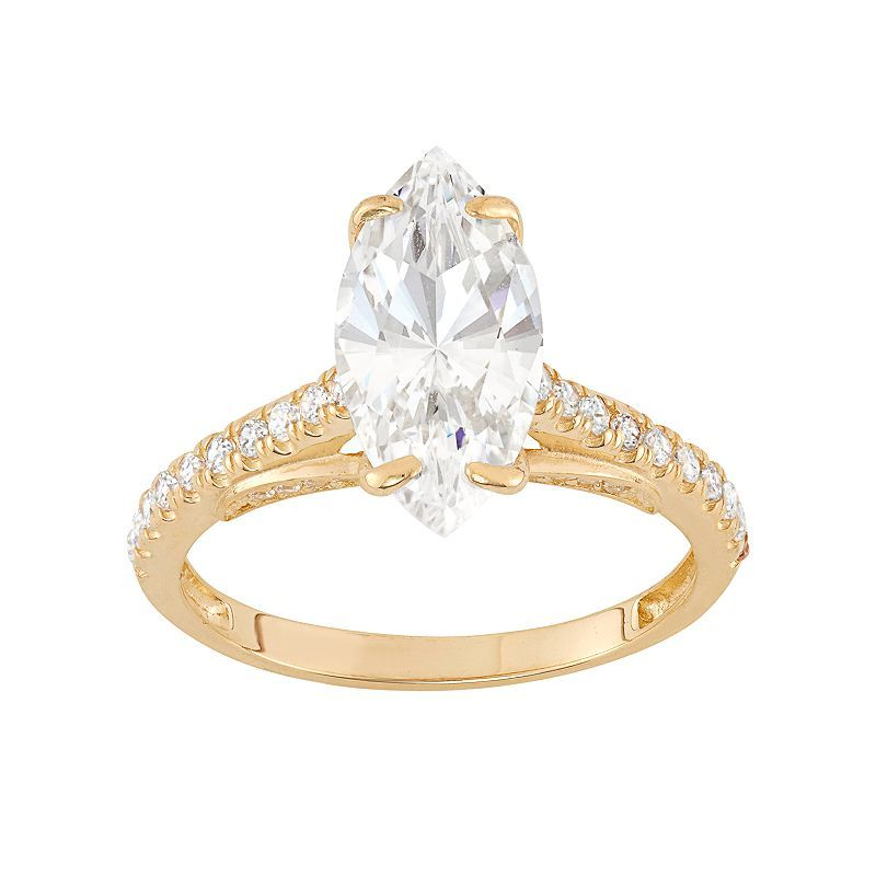 10k Gold Cubic Zirconia Marquise Engagement Ring Women S Size Engagement Rings Marquise White Engagement Ring Fashion Rings