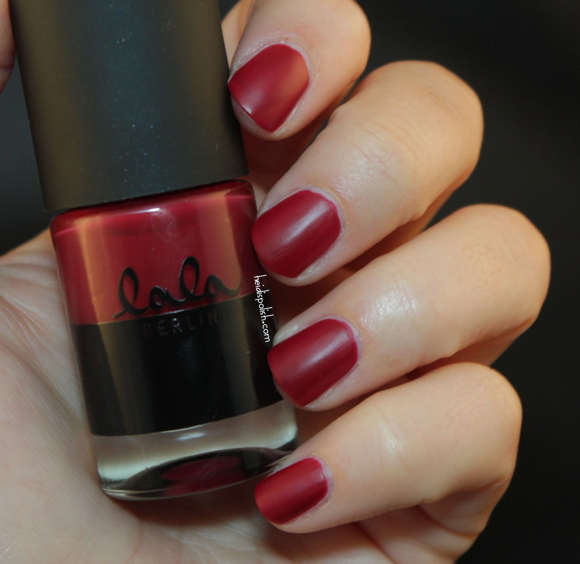 catrice for lala berlin c05 ruling red matte dark red nail polish