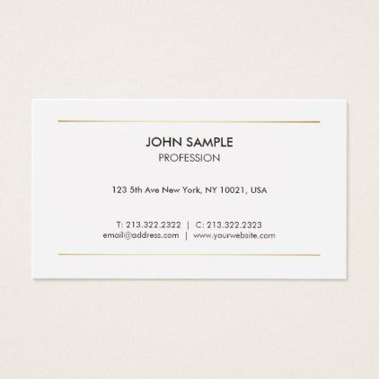 minimalist plain modern professional elegant white business card