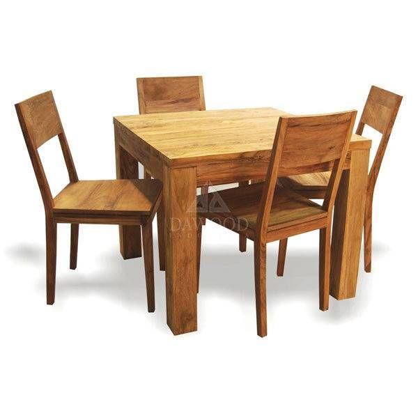 Teak Square Block Table 4 Seater Garden Dining Set Outdoor