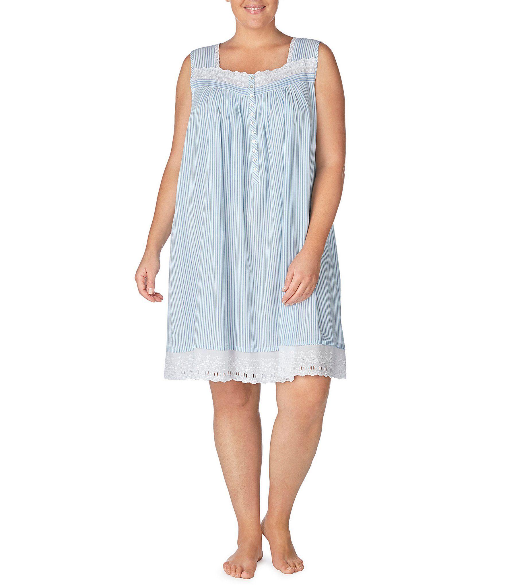 Eileen West Plus Yarn-Dye Striped Print Rayon Short Nightgown - Multi 3X