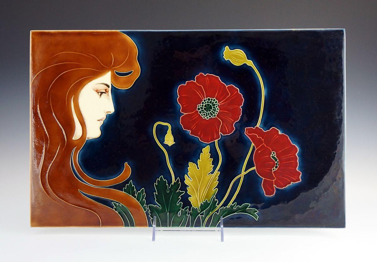 1896 Large Jugendstil Carl Sigmund Luber Tile For Johann Von Schwarz Keramikfabrik Nuremberg Collectors Weekly Art Art Decor Art Nouveau
