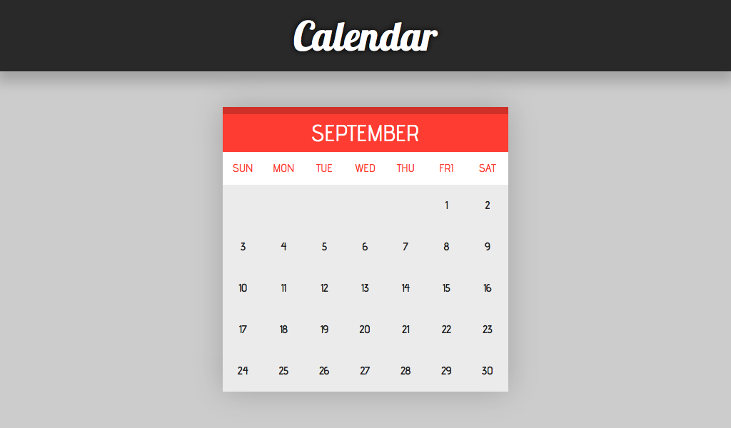 Practicing a simple calendar system with HTML and CSS    | Code Pen