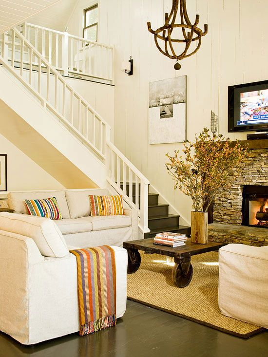 living room decorating cottage style rooms family ideas bhg s best home decor inspiration beautiful open staircase chandelier i wish my ceilings were that high