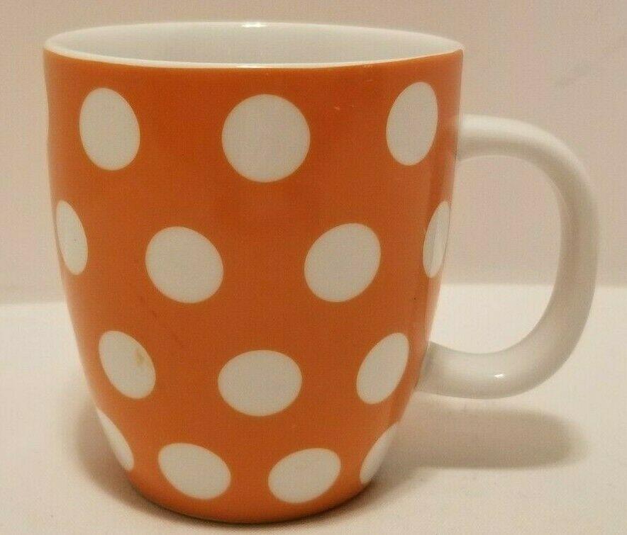 VGUC Whimsical Hallmark Orange w/ Big White Polka Dots