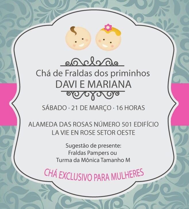Baby Shower Invitation. Tea Party. Convite Para Chá De Fraldas Tema Chá Da  Tarde