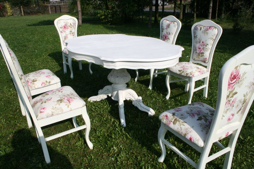 Shabby Chic Table And 6 Chairs Italian Dining French Italian