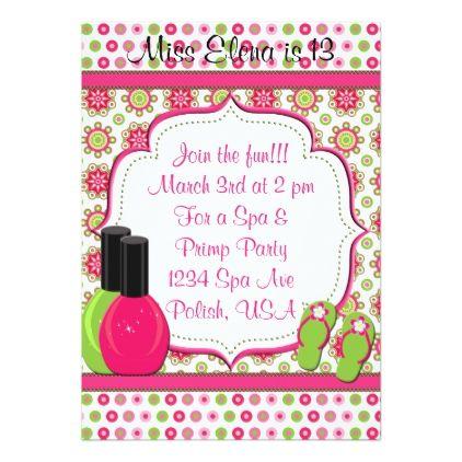 Spa Day of Pampering Pink Green Birthday Invite birthday cards – Invite Birthday Card