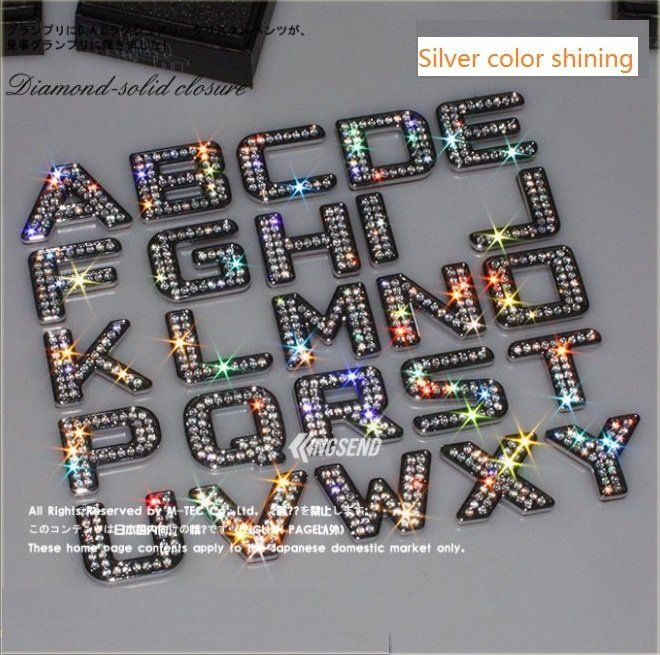 swarovski style diamond letters stickers 3d letters numbers car stickers silver color