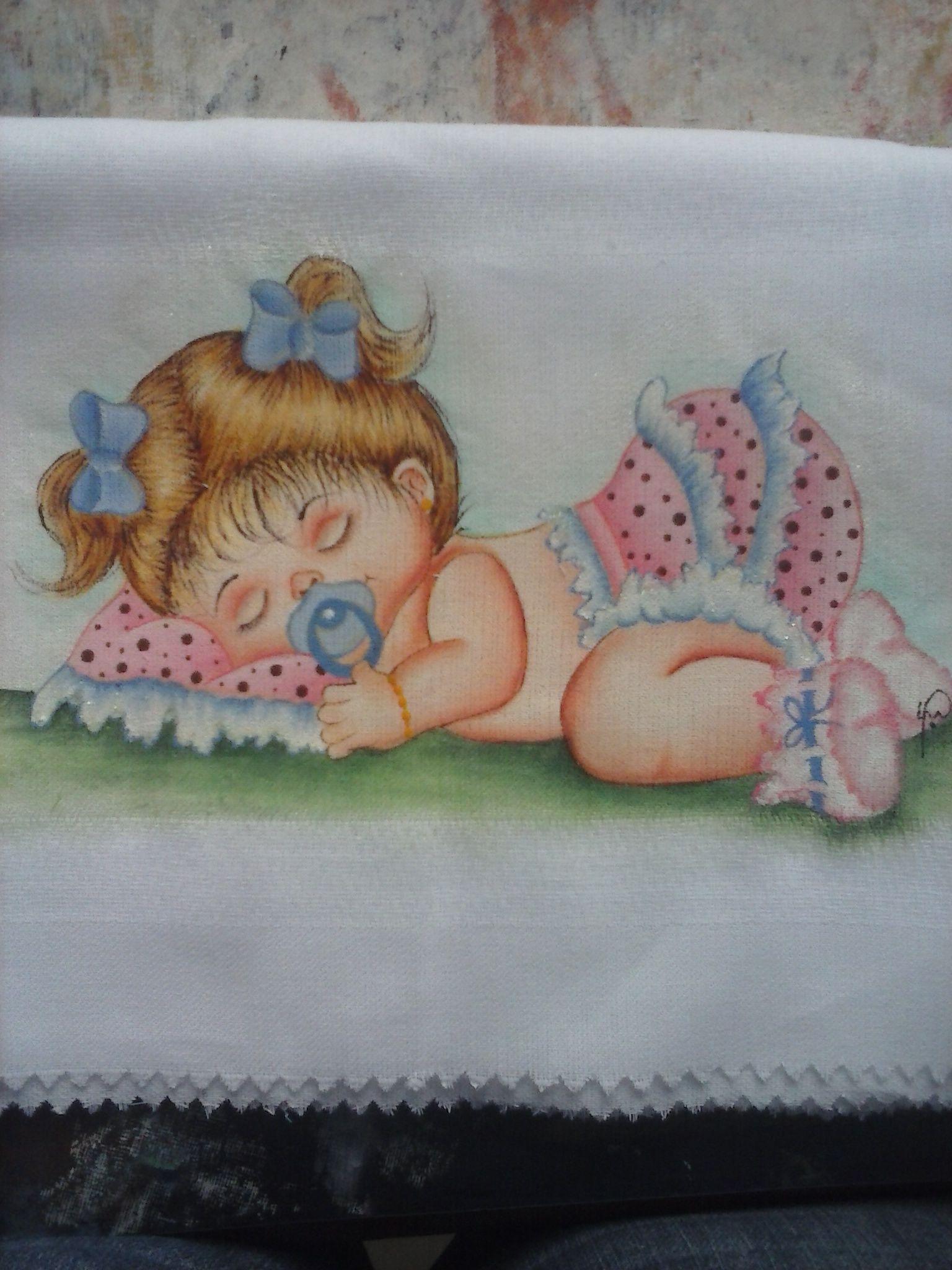 Fralda pintada a m o pintura em tecido beb s - Pintura para decoupage ...
