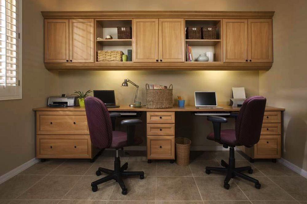 Functional And Charming Small Home Office This Dual User Small Home Office Is Resplendent In I Office Furniture Design Home Office Cabinets Home Office Design
