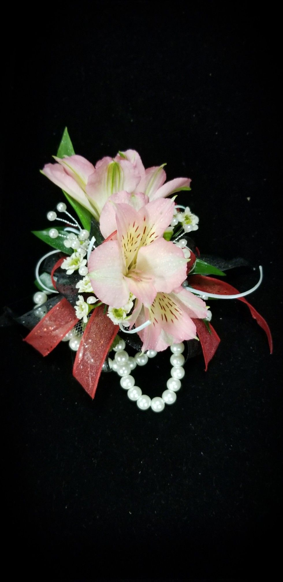 Blue and black wedding decor  Pink alstromeria with red black and light blue accents  Fun