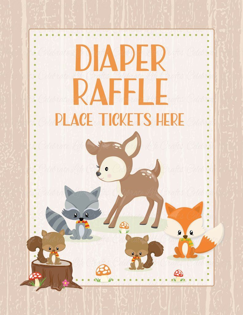 INSTANT DOWNLOAD Orange Woodland Animal Diaper Raffle Baby Shower Insert Do It Yourself Printable
