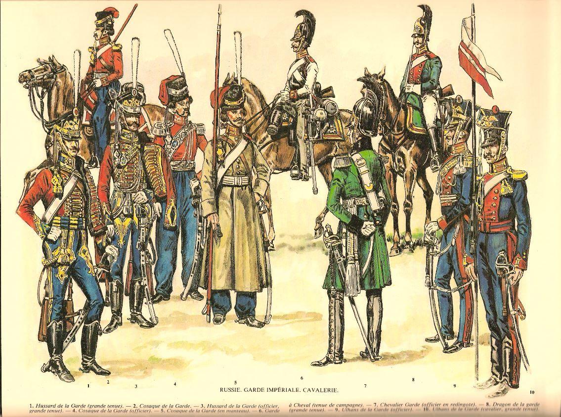 Guard Cavalry 1812 Hussars 1 3 Cossacks 2 4 5 Leib Horse Gaurd 6 Chevalier Garde 7 Dragoon 8 Battle Of Borodino Napoleonic Wars Military History