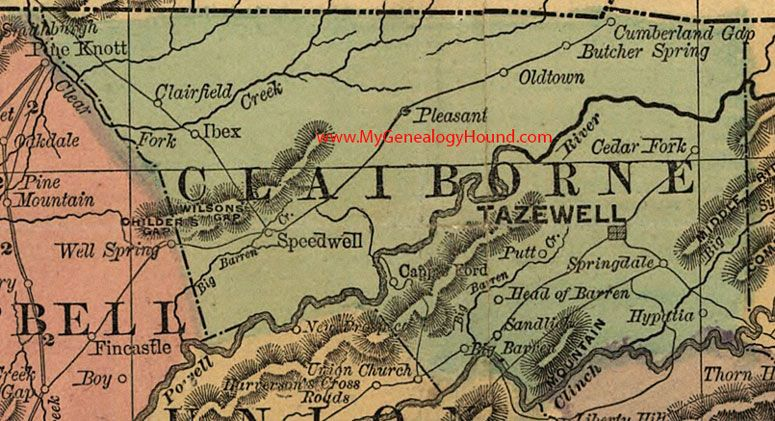 Claiborne County Tennessee Map Tazewell Ibex Cumberland - County map of east tennessee