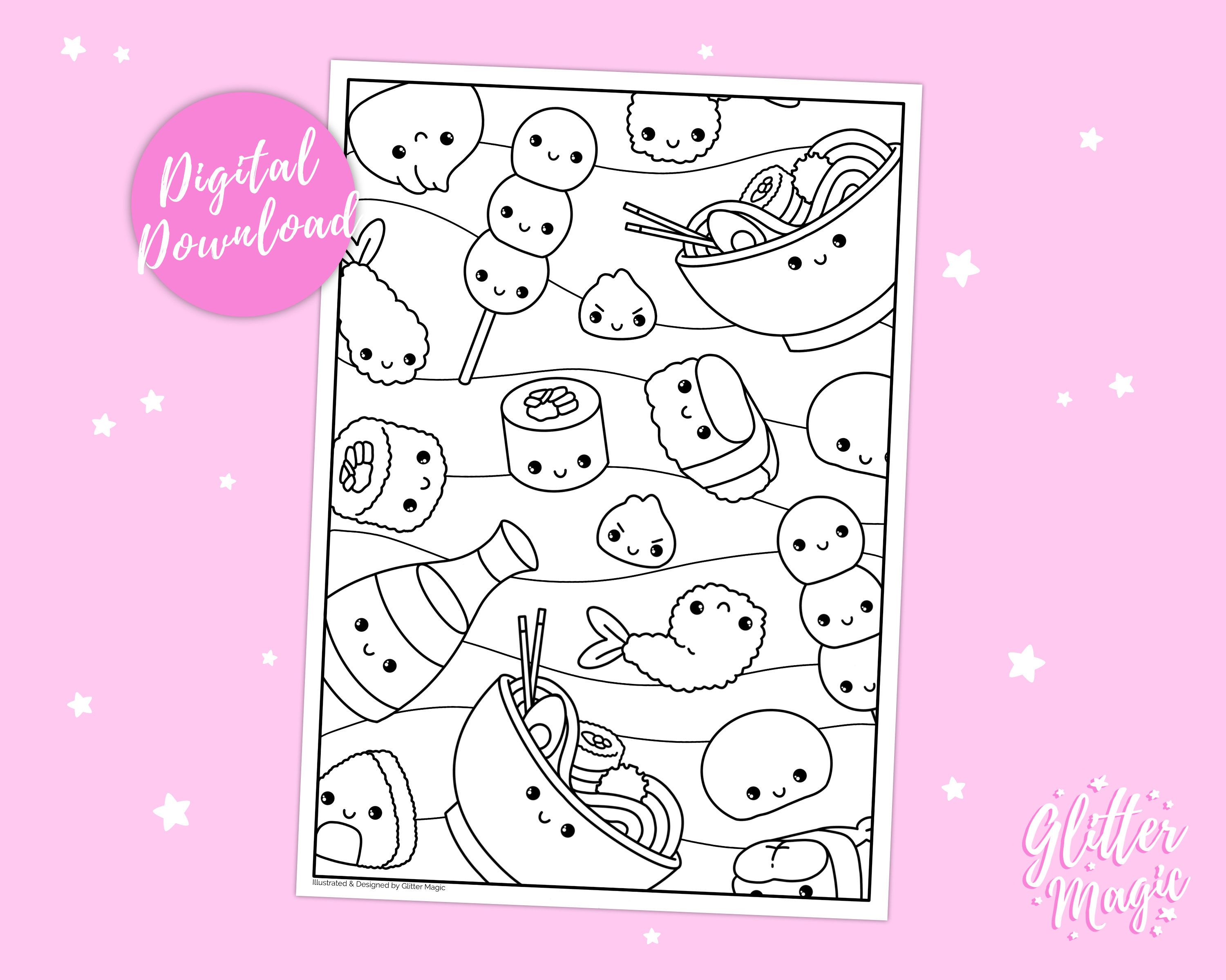 Printable Kawaii Japanese Food Colouring Sheet Digital Download Children S Activity Sheet Food Colouring Page Cute Snacks In 2020 Food Coloring Food Coloring Pages Cute Snacks