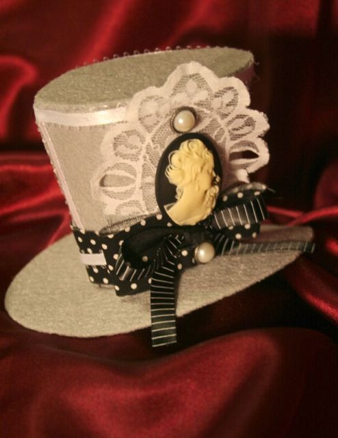 d8496a01 Grey Lace Cameo Mini Top Hat with Polka Dots by Ash Bertocci ...
