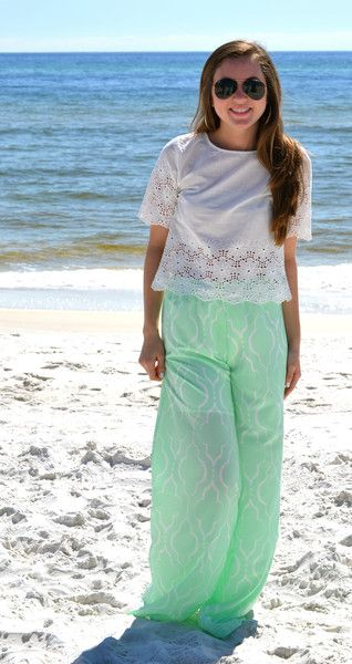 Mint print pants, white eyelet top.  This and many more cute men's and women's styles available at www.studio3-19.com -Studio 3:19