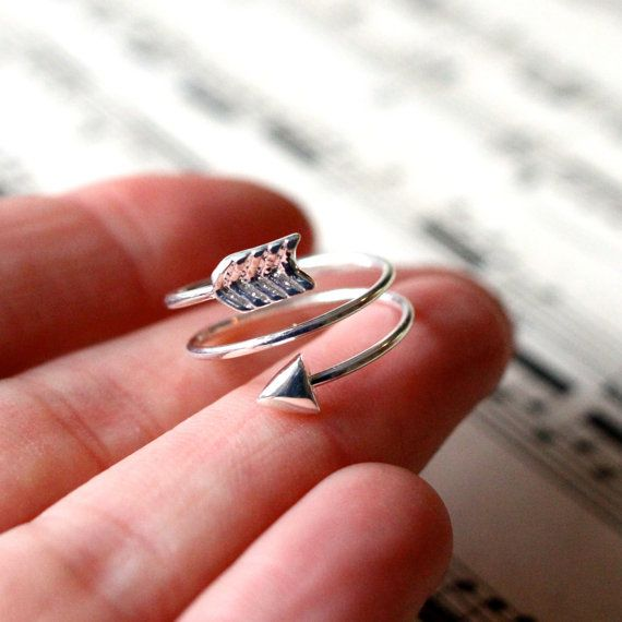 Bow and Arrow ring  silver plated stackable ring by Shootingnelly