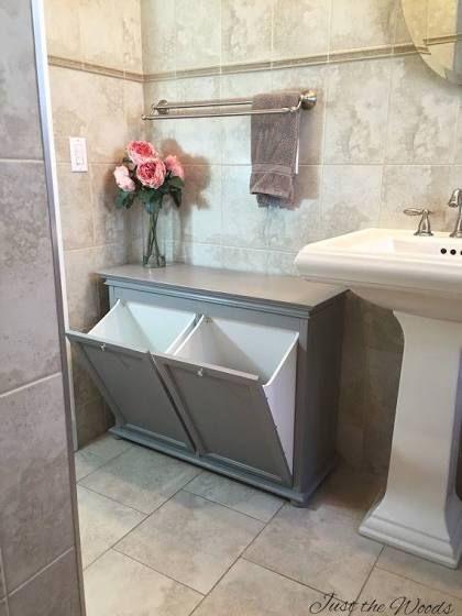 Laundry Sorter Cabinet Grey Wood Banyo Ic Dekorasyonu Banyo