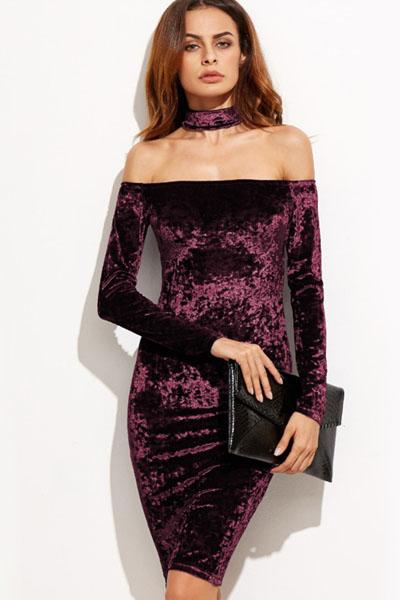8db889cd5c48 Yvette Bardot Velvet Bodycon Dress Purple Velvet Dress