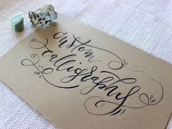 Custom calligraphy black ink on kraft brown personalized