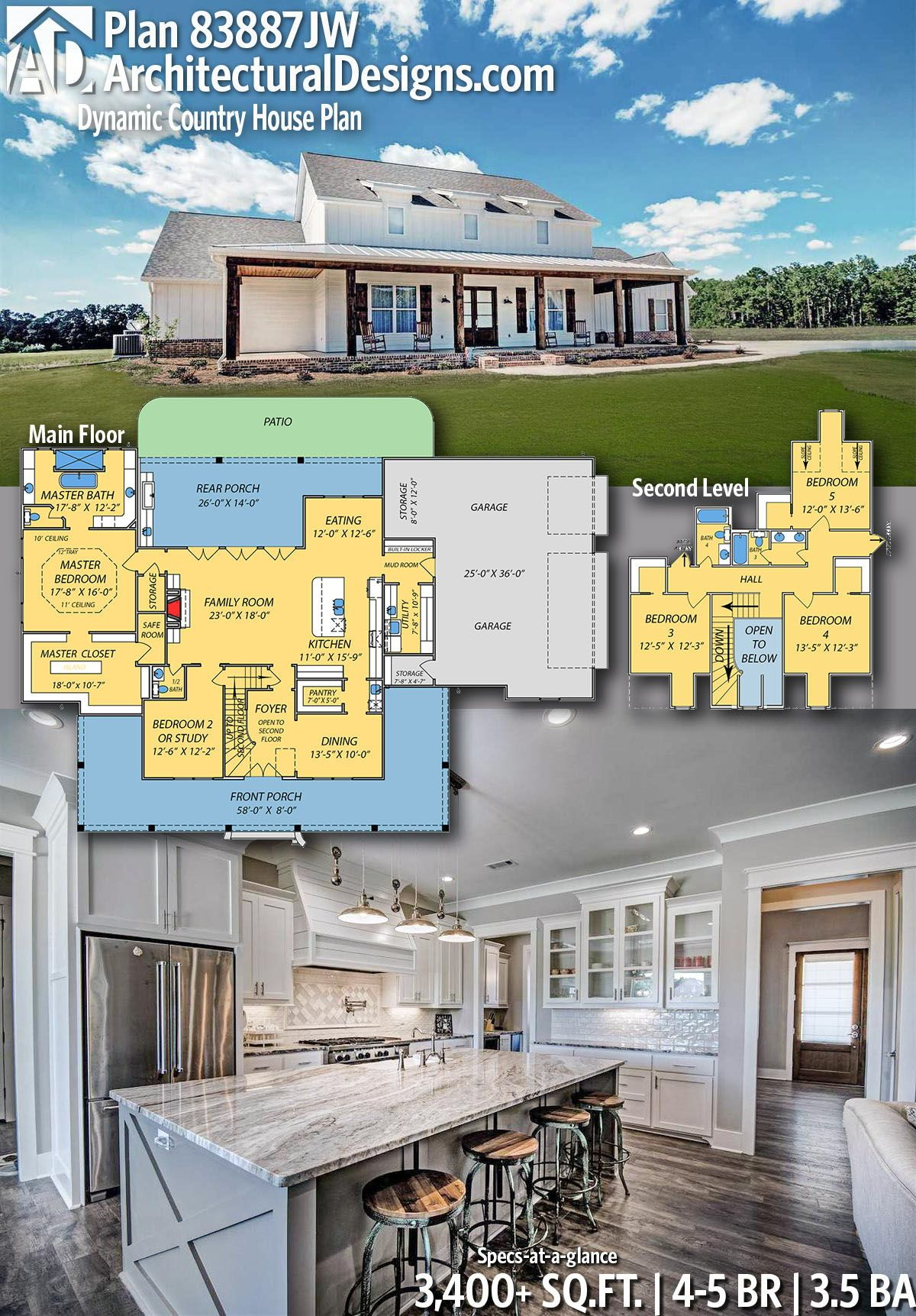 Safe Room Design: Plan 83887JW: Dynamic Country House Plan With Safe Room In