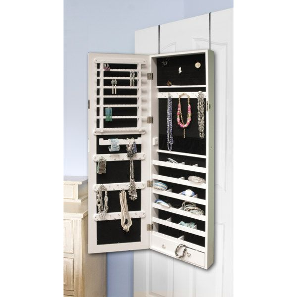 Over The Door Jewelry Armoire With Mirror Front   Bed Bath U0026 Beyond